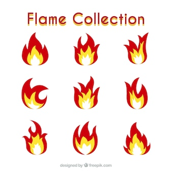 Flache Sammlung von dekorativen Flammen