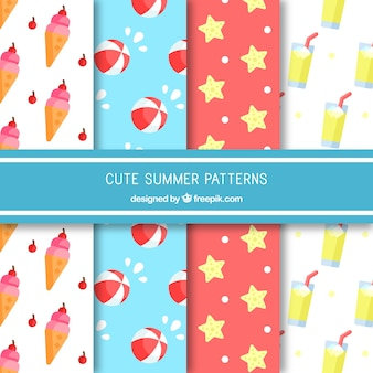 Flache Sammlung von dekorativen Mustern mit farbigen Sommerartikeln