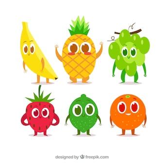 Flache Sammlung von niedlichen Fruchtfiguren