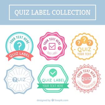 Flache Sammlung von Quiz-Etiketten mit verschiedenen Farben