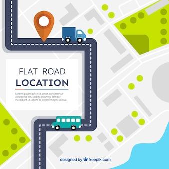 Flache Straßenkarte mit Fahrzeugen