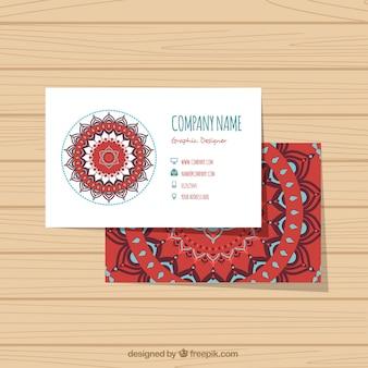 Flache Unternehmenskarte mit abstraktem Blumenschmuck