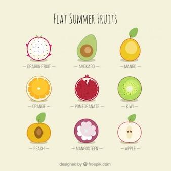Flache Vielfalt der Früchte im Sommer