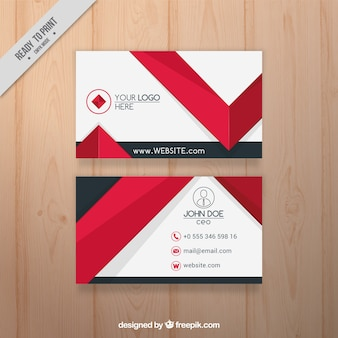 Flache Visitenkarte mit roten Elementen