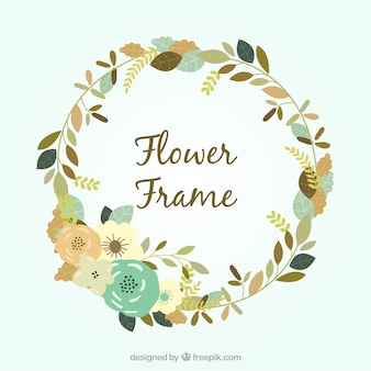 Flacher floraler Rahmen mit kreisförmigem Design