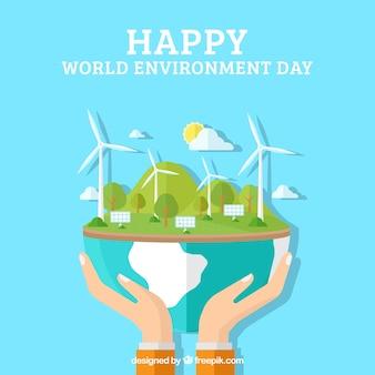 Flacher Hintergrund der Hände, die die Erde mit erneuerbaren Energien halten