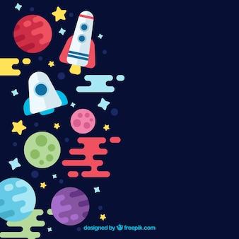 Flacher Hintergrund mit Raketen und Planeten
