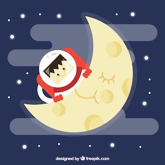 Flacher Hintergrund von Mond und Astronaut