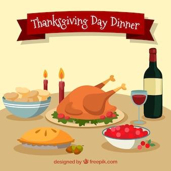 Flaches Design Thanksgiving-Tisch