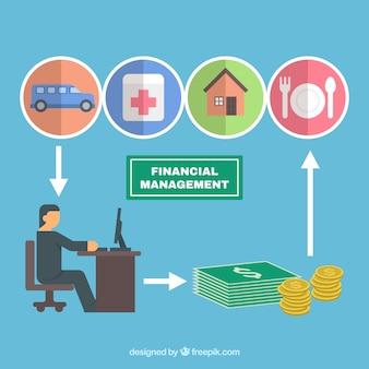 Flaches Finanzmanagement-Konzept