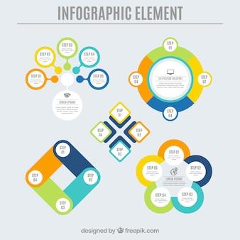 Flaches Sortiment von farbigen infografischen Elementen