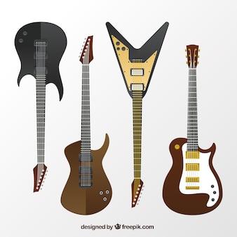 Flaches Sortiment von großen E-Gitarren