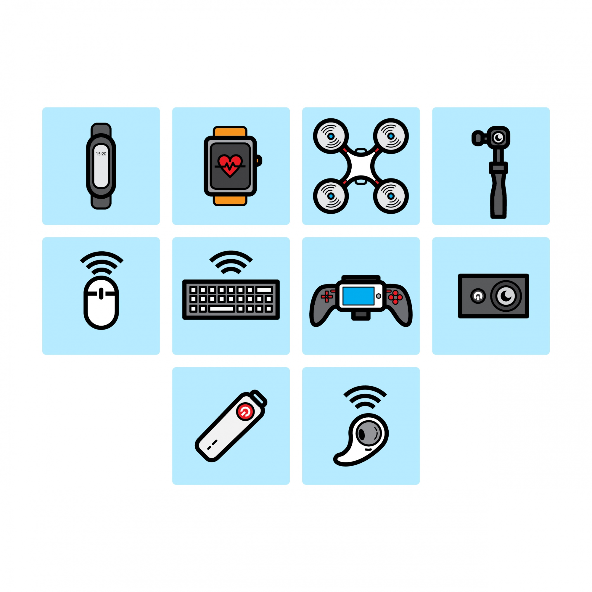 Flachfarben-Technologie-Icon-Set