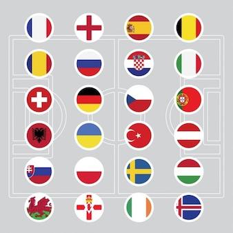 Flaggen der Euro 2016 Fußball