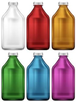 Flaschengestaltung in sechs Farben