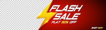 Flash Verkauf Banner mit goldenen Donner Zeichen auf rotem Hintergrund und Platz für Ihr Bild.