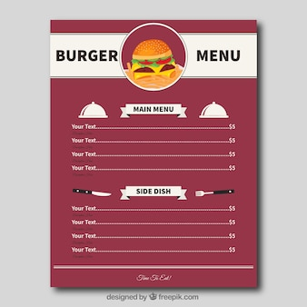 Flat Burger Menü Vorlage