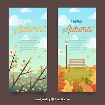 Flat Herbst Banner mit blauem Himmel und Wolken