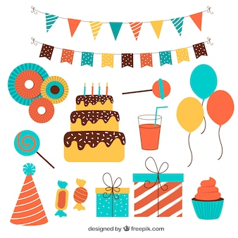 Flat Pack bunte Geburtstags Verzierungen