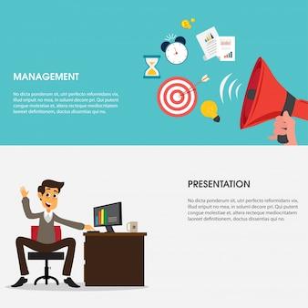 Flat Web Banner für Business Management und Präsentation.