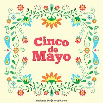 Floral cinco de Mayo Hintergrund
