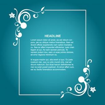 Floral Frame auf blauem Hintergrund