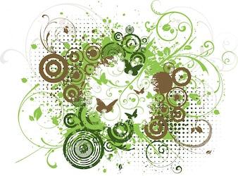 Floral Grunge Design mit Schmetterlingen