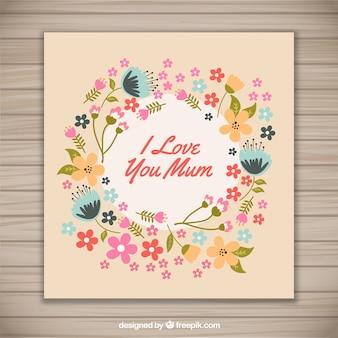 Floral Ich liebe dich Mammakarte
