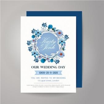 Floral wearth Hochzeitseinladungsentwurf