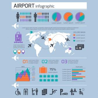 Flughafen Infografik-Vorlage