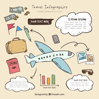 Flugzeug Infografiken mit der Hand gezeichnet Reise-Elemente
