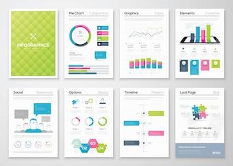 Flyer Infografiken und Broschüre Vorlagen Vektor Illustrationen