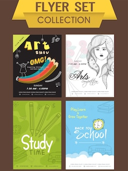 Flyer Set Sammlung von Kunstausstellung, Kunstwettbewerb und zurück zur Schule