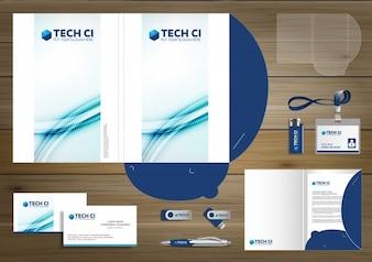 Folder Vorlage für Digital-Technologie-Unternehmen. Element der Schreibwaren, Corporate Identity Präsentation Design Unternehmen Unternehmen Förderung, blau,