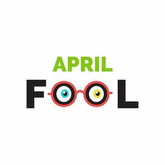 Fools Day April Schriftzug Typografie auf whtie Hintergrund für Grußkarte Anzeige Promotion Poster Artikel-Marketing-Signage-E-Mail-Vektor-Illustration