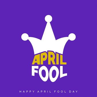 Fools Day April Schriftzug Typographie auf lila Hintergrund für Grußkarte Anzeige Promotion Poster Artikel-Marketing-Signage-E-Mail-Vektor-Illustration