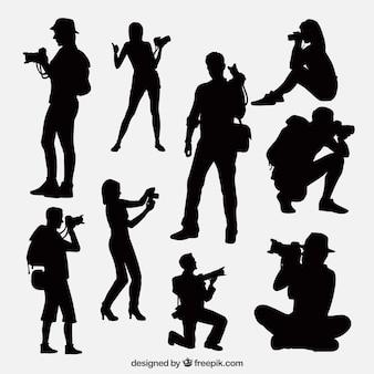 Fotografen, die ein Foto-Pack