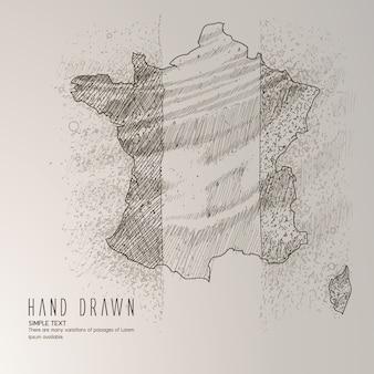 Frankreich Karte Hand gezeichnet