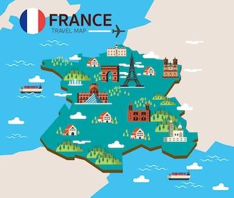 Frankreich Wahrzeichen und Reisekarte. Flache Design-Elemente und Symbole. Vektor-Illustration