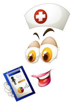 Frau Gesicht mit Krankenschwester Hut und Liste