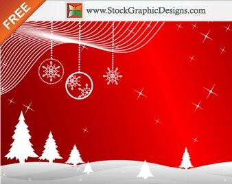 Freebie Winterspiele Red Background Vector mit Weihnachtsbaum