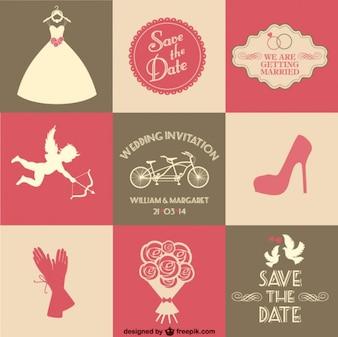 Freien Vektor Hochzeitskarte 9 Teile