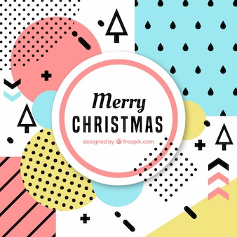 Frohe Weihnachten Hintergrund mit Memphis Formen