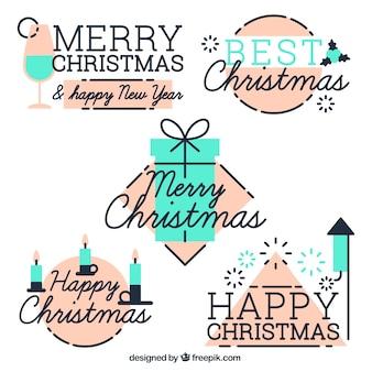 Frohe Weihnachten und Neujahr Retro Aufkleber