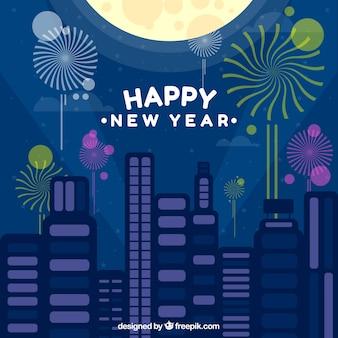 Frohes neues Jahr Hintergrund der Stadt