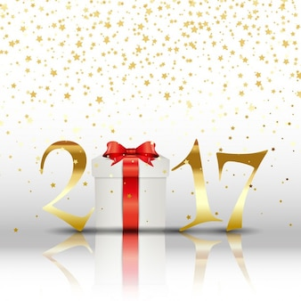 Frohes Neues Jahr Hintergrund mit Geschenk und goldenen Buchstaben