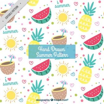 Fröhlich Sommer Muster mit Früchten