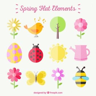 Frühling flache Element Sammlung