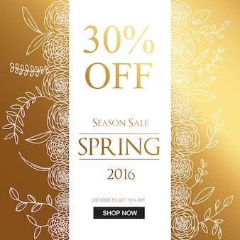 Frühling Umsatz Hintergrund goldenen Design