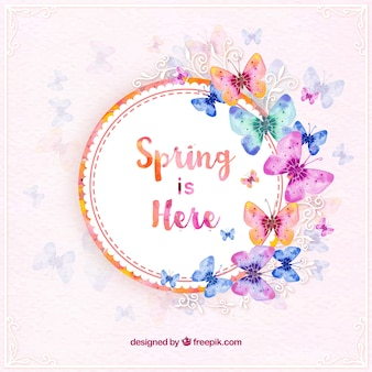 Frühlings-Aufkleber mit Aquarell Schmetterlinge